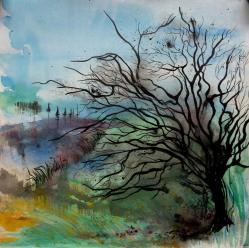 Arbre noir hivernal-Peinture