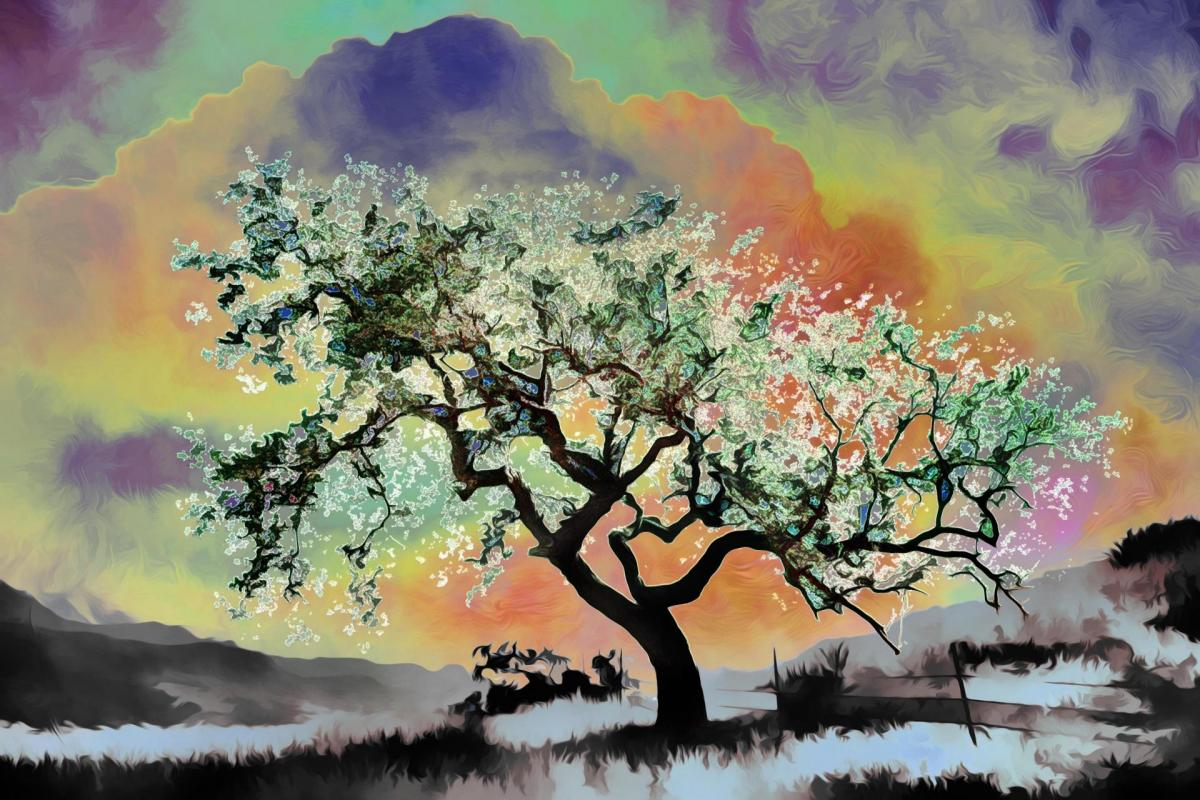 Arbre vert somptueux-Peinture