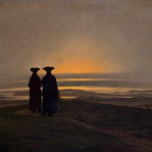 Caspar David Friedrich-2 hommes dans le crépuscule sombre