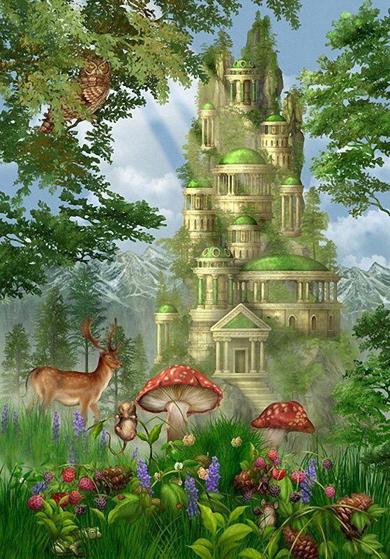Château dans jardin enchanté