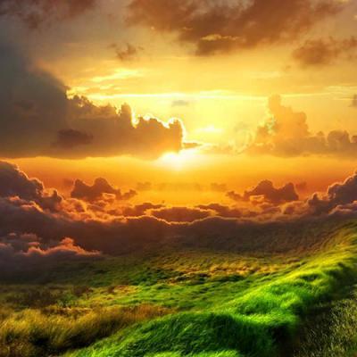 Chemin dans nature infinie et lumineuse