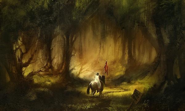 Chevalier à cheval dans forêt