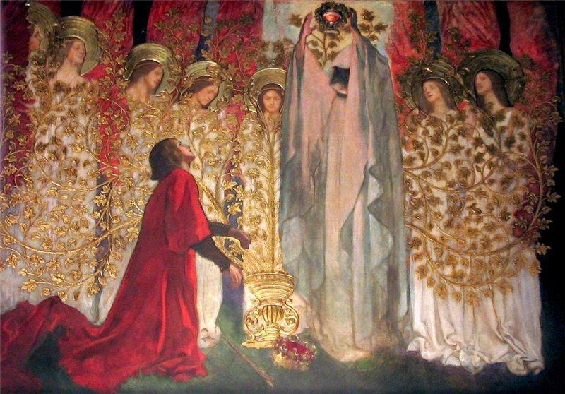 Chevalier agenouillé devant prêtre au Graal