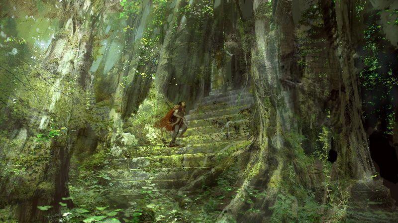 Chevalier montant escalier dans nature