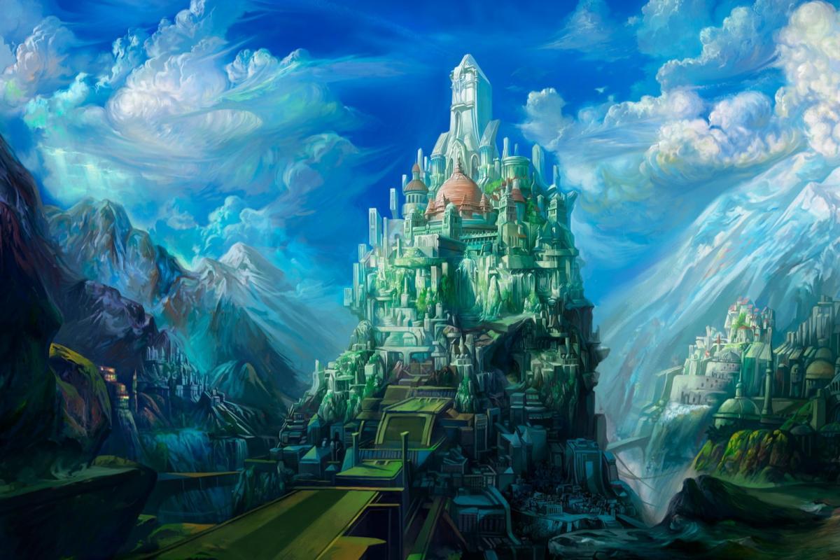 Cité imaginaire sur montagne