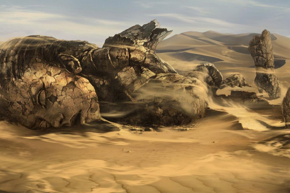 Corps désarticulé dans désert