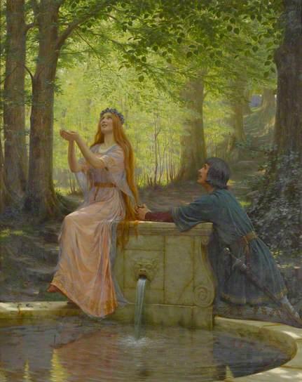 Couple autour de fontaine
