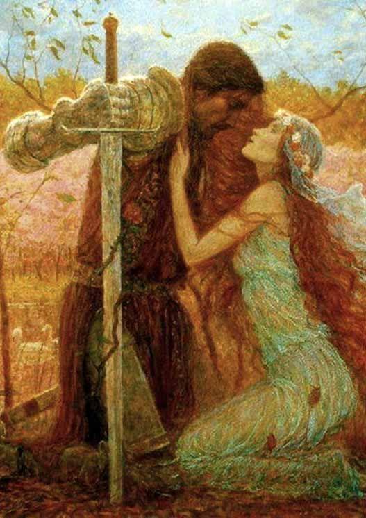 Couple avec épée agenouillé