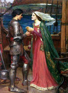 Couple chevalier-femme en rouge
