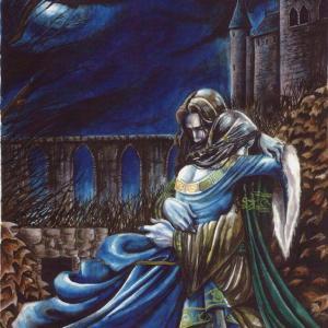 Couple embrassé-château en arrière-plan