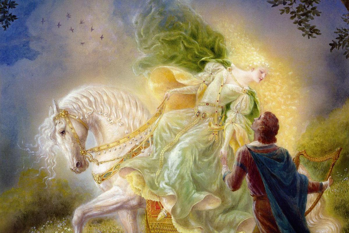 Couple femme à cheval-homme lyre
