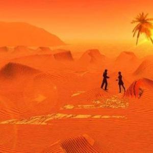 Couple perdu dans désert rouge