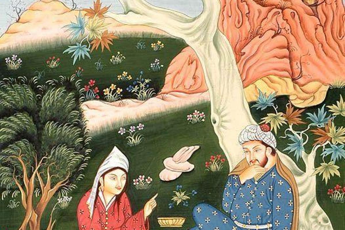 Couple persan dans jardin