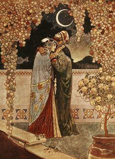 Couple persan dans pièce au clair de lune