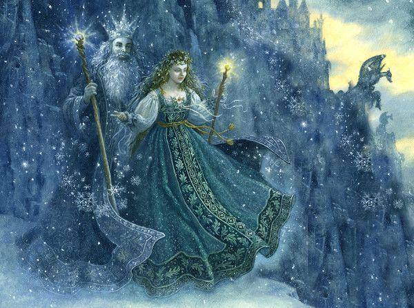 Couple roi et femme dans neige