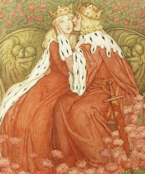 Couple royal en rouge