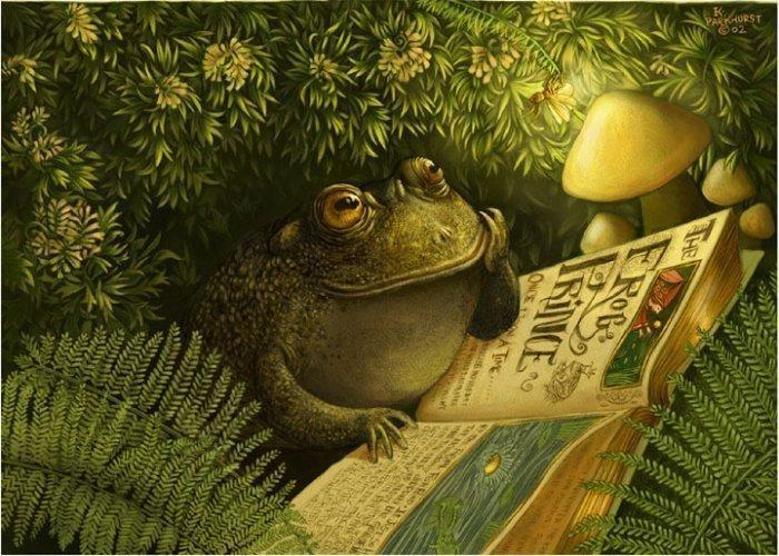 Crapaud lisant dans nature