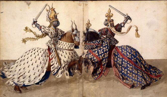 Deux chevaliers en combat