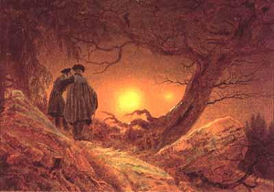 Deux hommes sous arbre illuminé