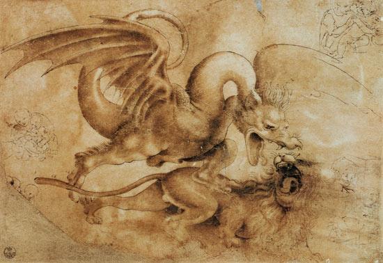 Dragon combattant lion-Leonardo
