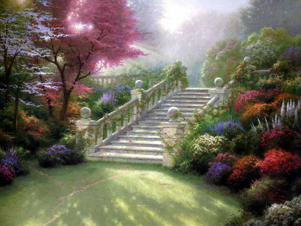 Escalier dans jardin fleuri-Thomas Kinkade