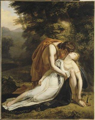 Eurydice morte dans bras d'Orphée