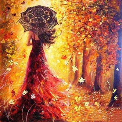 Femme à robe rouge se mêlant aux feuillages rouges