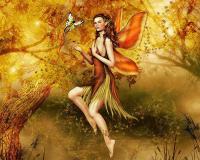 Femme ailée au milieu d'arbres dorés