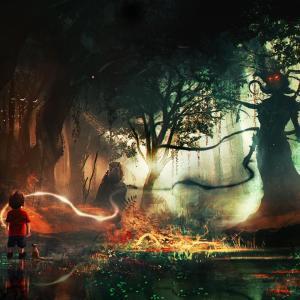 Femme-arbre et enfant dans forêt