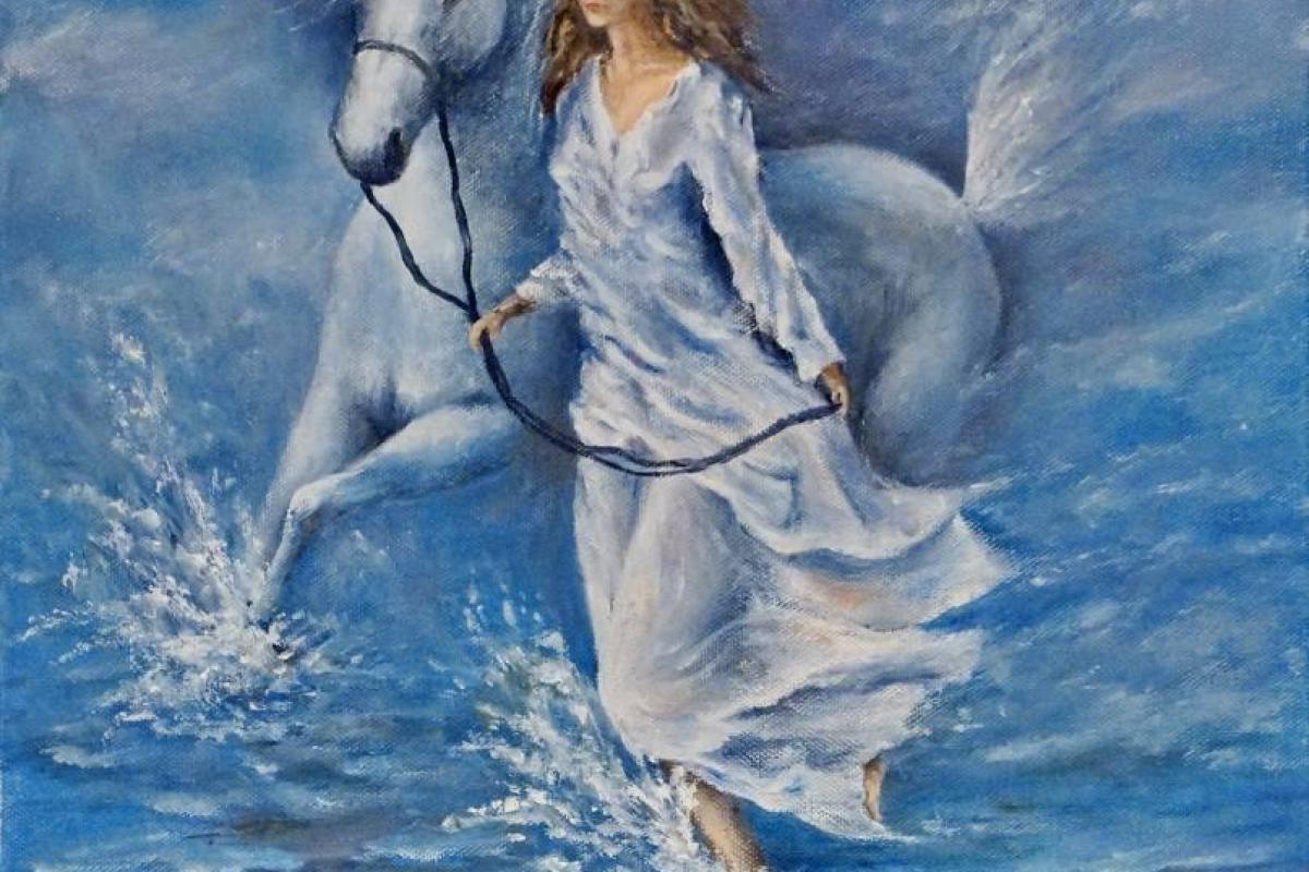 Femme avec cheval blanc