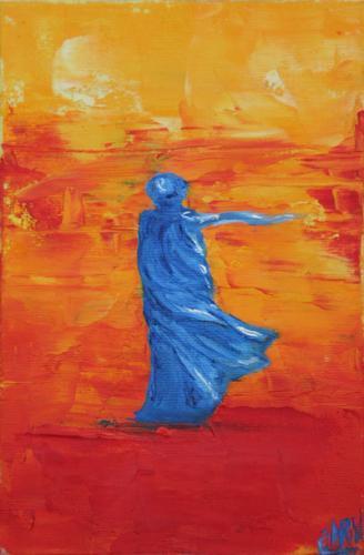 Femme bleue dans désert rouge