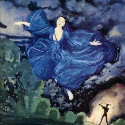 Femme bleue volant et archer-Peinture