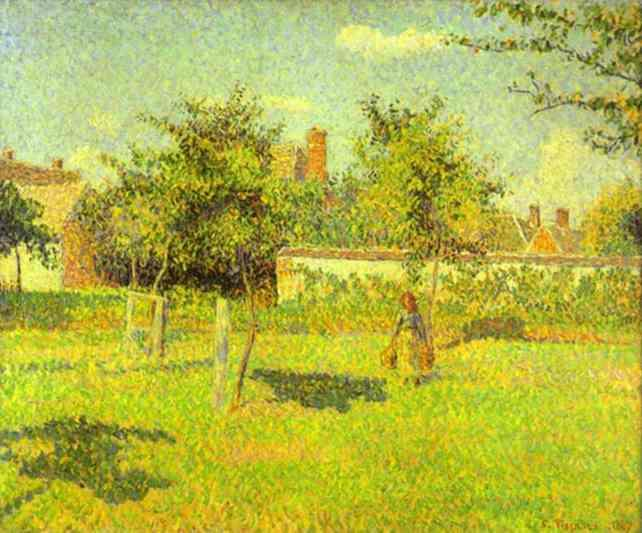 Femme dans nature-Camille Pissarro
