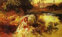 Femme dans oasis-Peinture