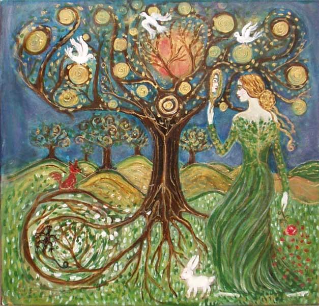 Femme devant arbre surréaliste