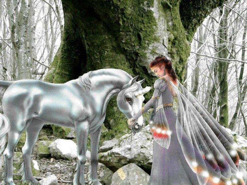 Femme et cheval d'argent