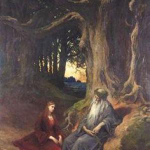 Femme et vieux sage sous arbre