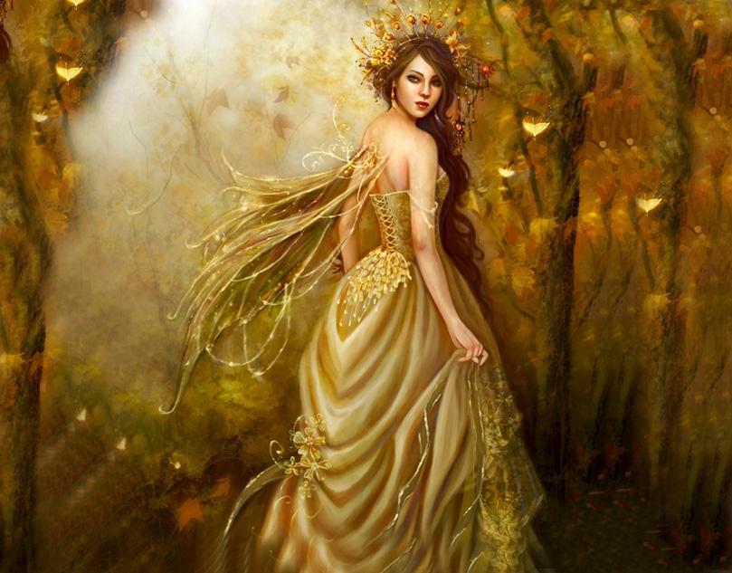 Femme féerique dans forêt