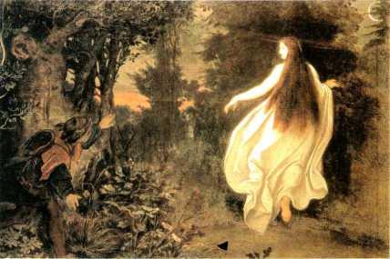 Femme lumineuse homme couché dans forêt