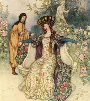 Femme médiévale et homme à l'arrière