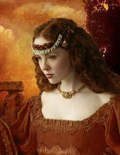 Femme princesse en rouge