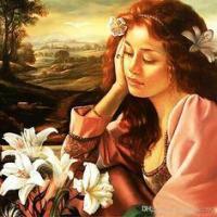 Femme rêveuse et fleurs blanches
