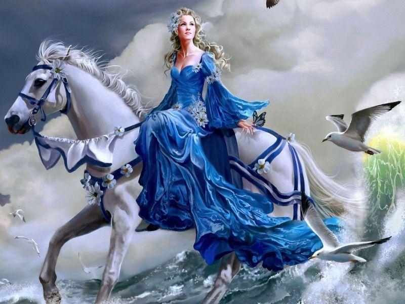 Femme en robe bleue à cheval blanc