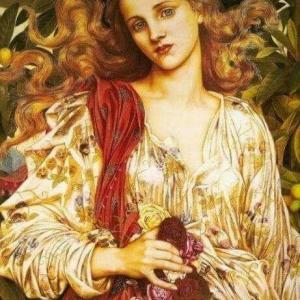 Femme robe d'or-Evelyn de Morgan