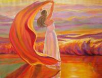 Femme secouant cape rouge dans nature-Peinture