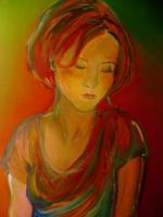 Femme triste-Peinture