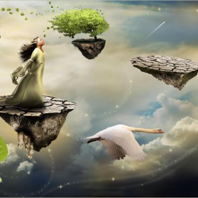 Femme volant avec oie