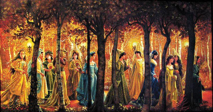 Femmes en promenade sous arbres