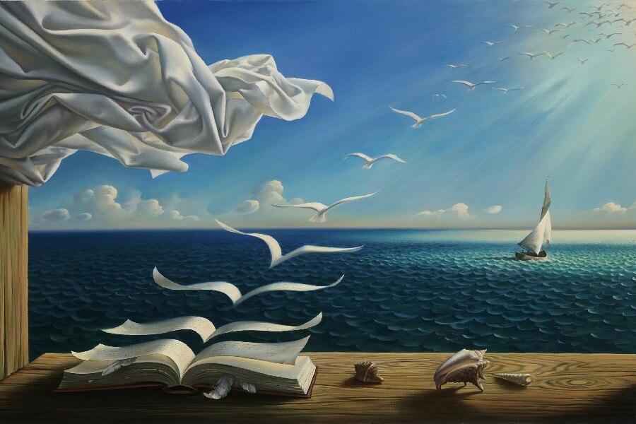 Feuilles livres s'envolant-Magritte