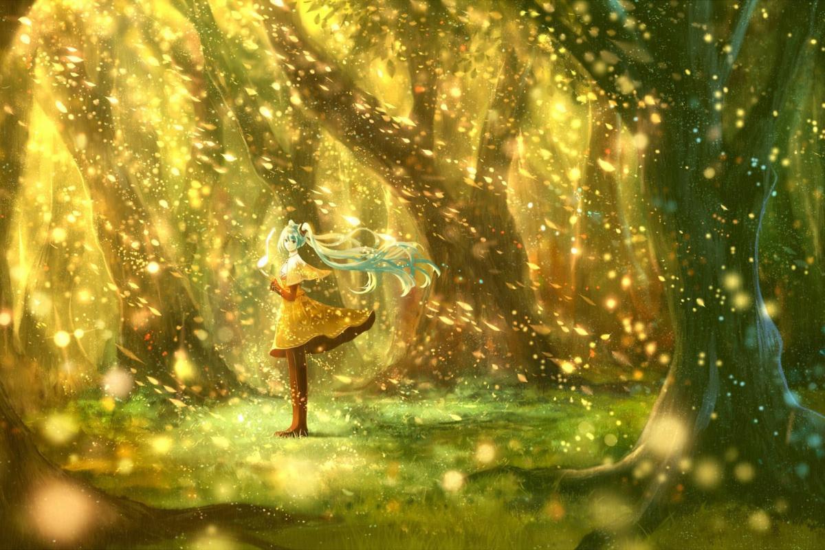 Fillette au coeur de forêt irréelle